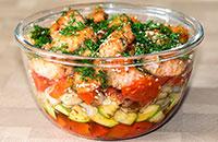 Горячий салат с красной рыбой