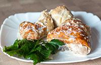 Курица по грузински Чкмерули в молочном соусе