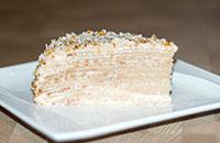 Блинный торт. Блины на кефире заварные